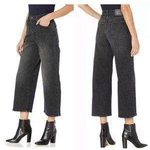 Levis Mile High Cropped Wide Leg Jeans Black